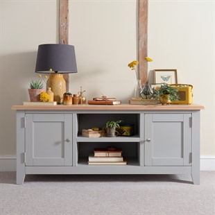 """Chester Dove Grey Widescreen TV Unit - Up to 65"""""""