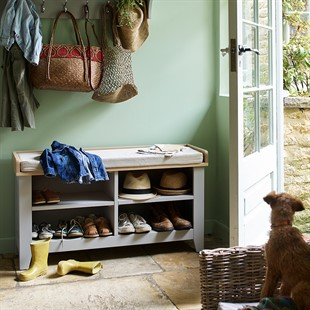 Chester Dove Grey Open Shoe Storage Bench