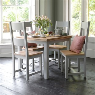 Chester Dove Grey 90cm-155cm Table and 4 Chairs