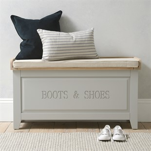 Chester Dove Grey Large Shoe Storage Trunk and Bench