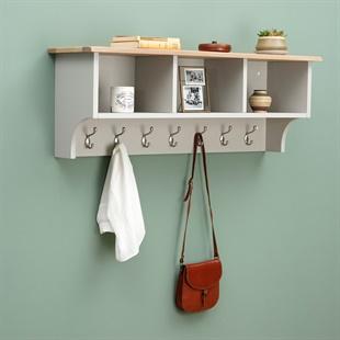 Chester Dove Grey Storage Shelf and Hooks