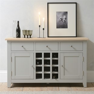 Chester Dove Grey Sideboard with Wine Rack