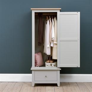 Chester Dove Grey Single Wardrobe