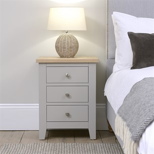 Chester Dove Grey NEW 3 Drawer Bedside