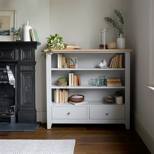 Chester Dove Grey Low and Wide Bookcase