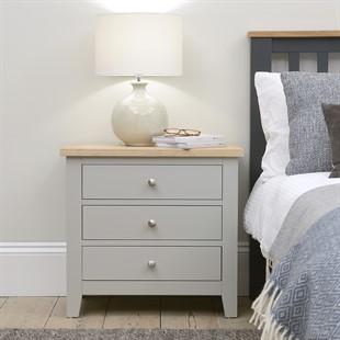 Chester Dove Grey 3 Drawer Jumbo Bedside