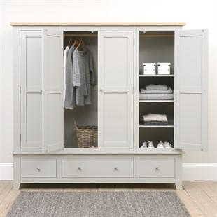 Chester Dove Grey Four Door Wardrobe