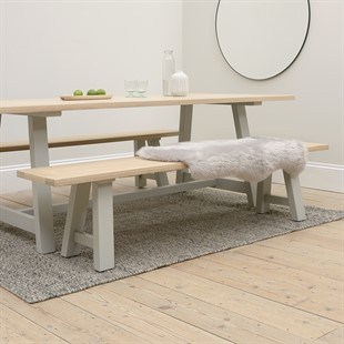 Chester Dove Grey Large Trestle Bench