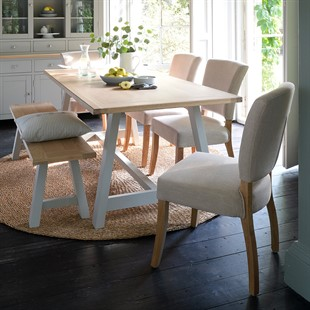 Chester Dove Grey Mid-Sized Trestle Table Dining Set