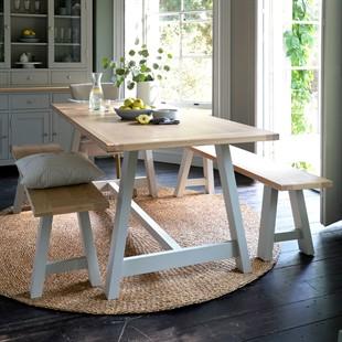 Chester Dove Grey Mid-Sized Trestle Table and Bench Set