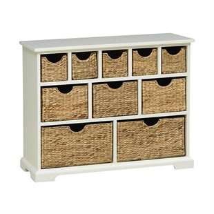 Farmhouse Painted 10 Drawer Merchants Chest - Ivory