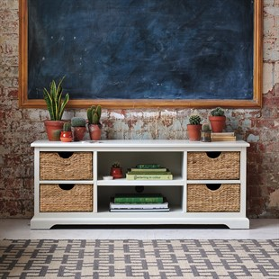 """Farmhouse Painted Widescreen Unit up to 62"""" - Ivory"""
