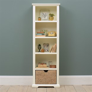 Farmhouse Painted Tall Slim Bookcase - Ivory