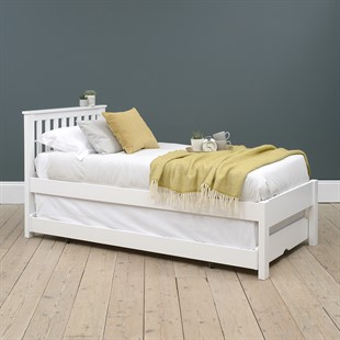 Pensham Pure White Guest Bed and Trundle with Two Mattresses - White