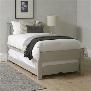 Pensham Dove Grey Guest Bed and Trundle with Two Mattresses