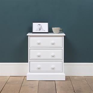 Pensham Pure White Wide 3 Drawer Bedside