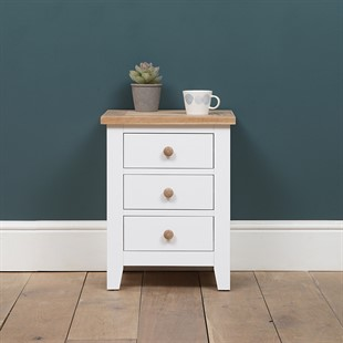 Chester Pure White NEW 3 Drawer Bedside