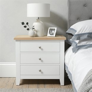 Chester Pure White NEW 3 Drawer Jumbo Bedside
