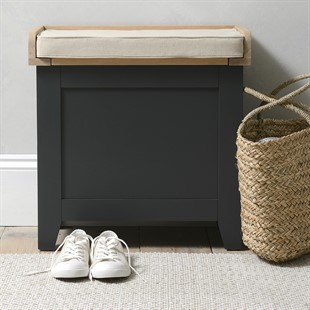 Chester Charcoal Small Shoe Storage Trunk Bench