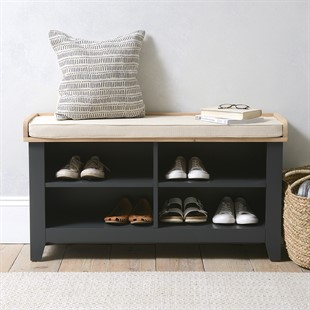 Chester Charcoal Open Shoe Storage Bench