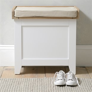 Chester Pure White Small Shoe Storage Trunk Bench