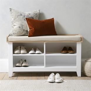 Chester Pure White Open Shoe Storage Bench
