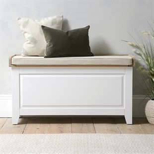 Chester Pure White Large Shoe Storage Trunk and Bench