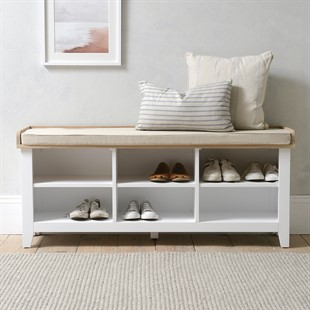 Chester Pure White Large Open Shoe Bench