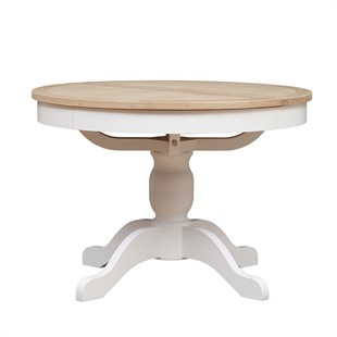 Chester Pure White NEW 110-145cm Round Ext. Dining Table