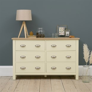 Simply Cotswold Cream 6 Drawer Low and Wide Chest