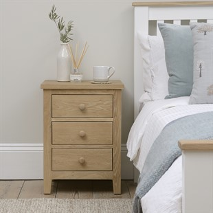 Chester Oak NEW 3 Drawer Bedside