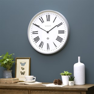 Italian Large Roman Numeral Wall Clock Grey (53cm)