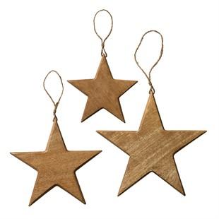 Set of 3 Vintage Wooden Stars Natural