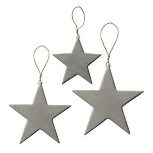 Set of 3 Vintage Wooden Stars Grey