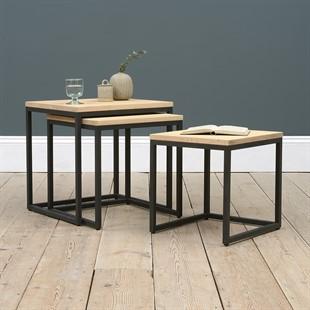 Moreton Metal & Oak Nest of Three Tables