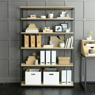 Moreton Metal and Oak Extra Large Bookcase