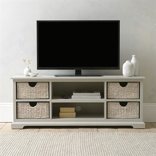 "Farmhouse Dove Grey Widescreen TV unit up to 62"""