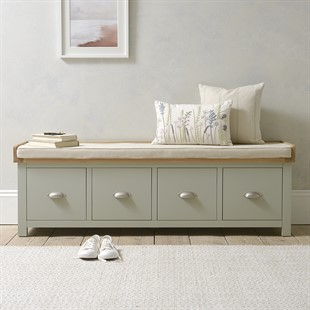 Sussex Sage Green NEW Four Drawer Shoe Bench with Cushion