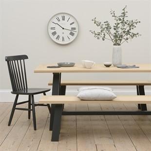 Ellwood Charcoal Mid-Sized Trestle Table Dining Set