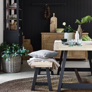Ellwood Charcoal Large Trestle Table with 2 Benches