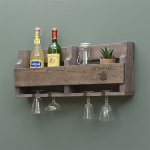 Rustic Wall Wine Rack for 6 Bottles and 4 Glasses