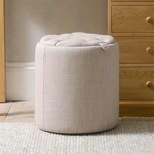 Ashley Buttoned Stool - Stone Linen