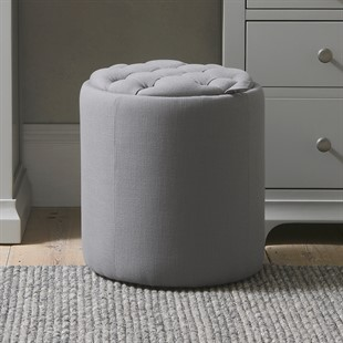 Ashley Buttoned Stool - Grey Linen