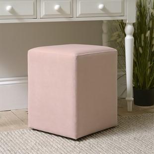 Amberley Square Stool - Blush Pink Velvet