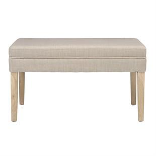 Chester Oak Upholstered Dressing Table Stool - Stone Linen