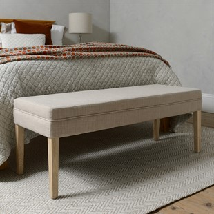 Upholstered End Of Bed Bench - Stone Linen