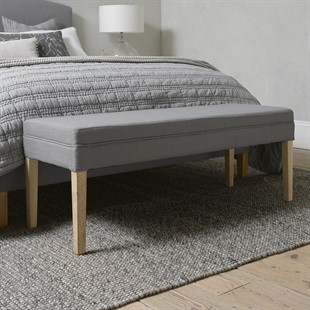 Upholstered End Of Bed Bench - Grey Linen