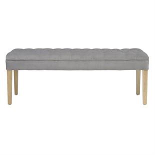 Evesham Buttoned End of Bed Bench - Slate Velvet