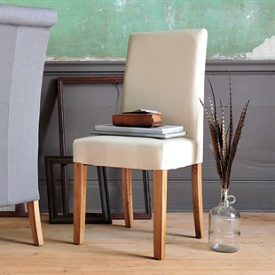 Aster Straight Back Leather Chair - Cream