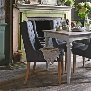Foxglove Winged Buttoned Chair - Charcoal Grey